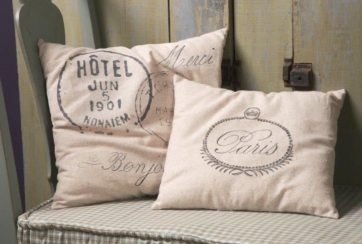 Stamoed feed sack pillows
