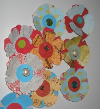 punched patterned scrap flowers