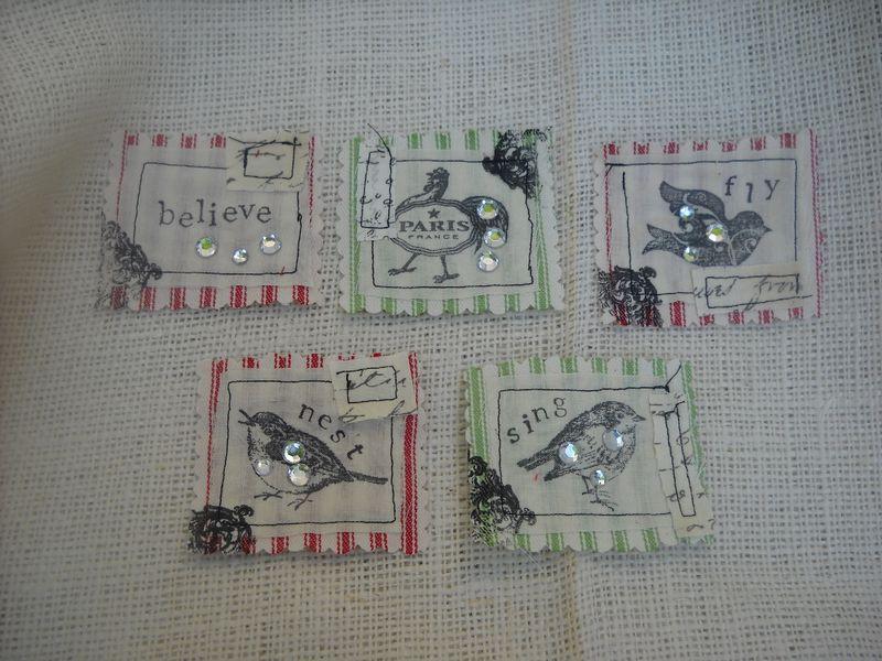 Embellished fabric squares