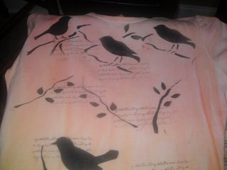 Stenciled birds t shirt