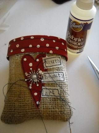 Sewn bag and glue cuff