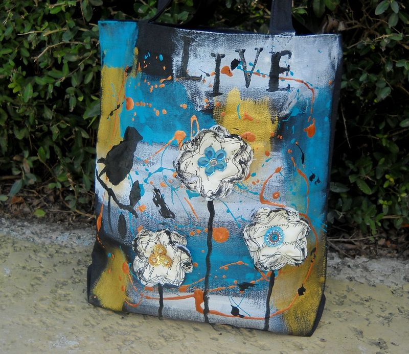 Painted canvas bag