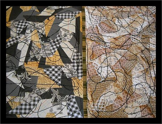 Fabric and paper sewn