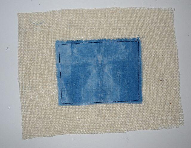 Indigo sewn to burlap