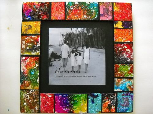 alcohol inked metal mosaic frame - Mosaic Picture Frames