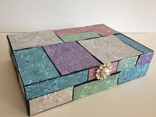 Metallic mosaic wooden box