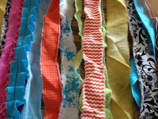 Strips of scrap fabrics