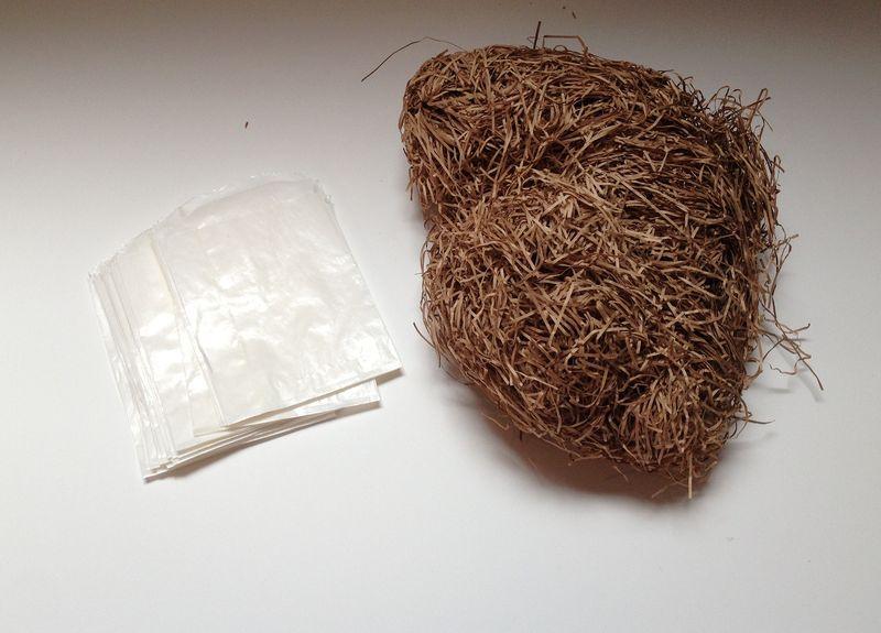 Glassine bags and shredded paper