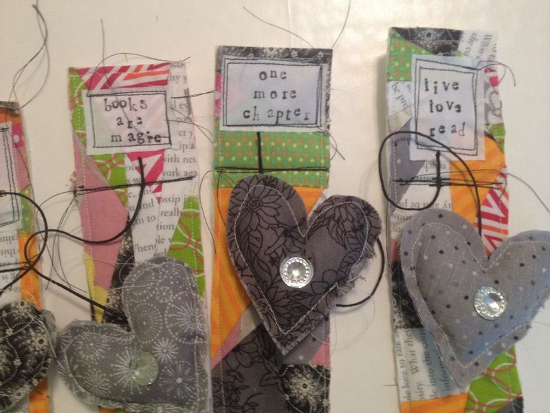 Fabric scrap bookmarks 8